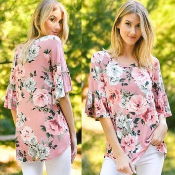 Blouse Flare Flower Printed Three Quarter Sleeve Casual O-Neck Pink Blusa Shirt Tops Tee