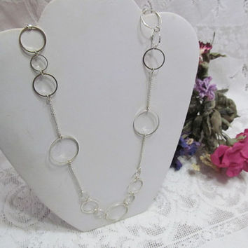 CLEARANCE Gorgeous Silver Tone 48 inch Circle Necklace