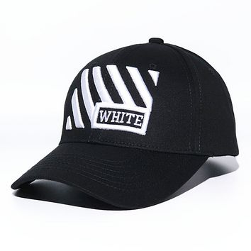 Off White New fashion embroidery letter arrow couple cap hat Black