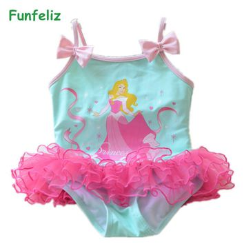 Princess Swimsuit for Girls Pink Green girls swimwear kids one piece bathing suits lovely lace quality doulbe layer 2-10T