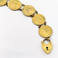 1944 Farthing Coin Sweetheart Bracelet, Trench Art, WWII, Vintage Collectibles