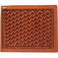 3D Natural Basketweave Hand-Tooled Leather Western Bifold Wallet