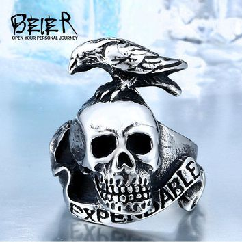 Punk Style Expendable For Men 316L Stainless Steel Bird On Skull Ring Animal Jewelry Man Cheap BR8-120