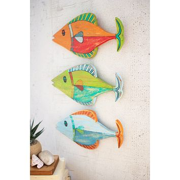 Set of 3 Painted Wooden Fish Wall Hangings