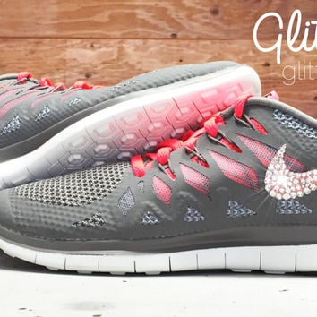 Nike Free Run 5.0 Blinged Out Nike Shoes - Glitter Kicks Bling Nikes With Swarovski Crystal Rhinestones Blinged Shoes