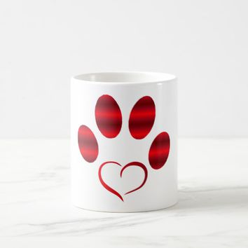 Red Heart Paw Coffee Mug