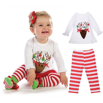 Christmas Toddler Girl Kid Santa Deer Top T-shirt Leggings Pants Outfit Set Cute = 1904776004