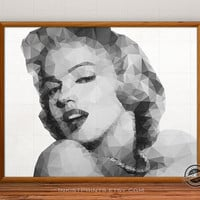 Marilyn Monroe Print, Model, Actress, Geometric Illustration, Sex Symbol, Polygon Wall Art, Portrait, Fine Art, 5x7, 8x10, 12x16, 16x20