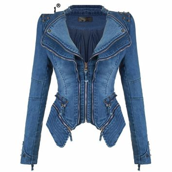 Denim Jeans Padded Shoulder Jacket Slim Fit Zipper Coat Biker Jackets