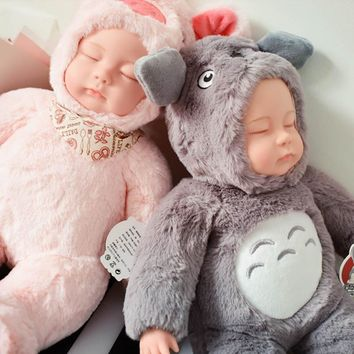 Sleeping Dolls 37cm Soft Dolls & Stuffed Toys for Babe Doll Reborn Silicone Baby Animal Reborn Doll for Girl Valentine  Day