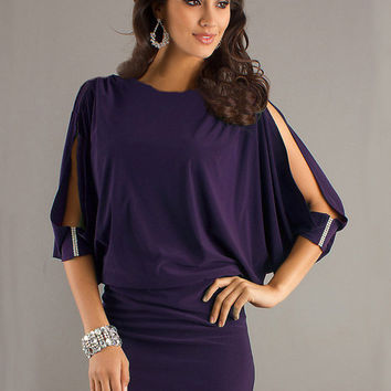 Purple Half Sleeve Slit Mini Dress