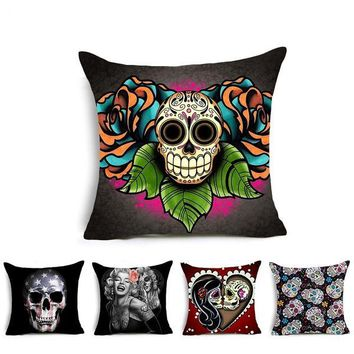 Skull Pattern Cushion Cover Polyester Home Throw Pillow