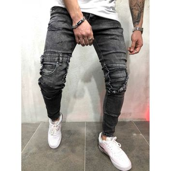 Patched Gray Jeans
