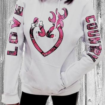 White Love Monogram Print Drawstring Pockets Hooded Sweet Pullover Sweatshirt
