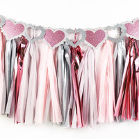 Blush Sparkle Banner Garland - Pink, Blush, Gray, Silver Tassel Garland and Pink, Silver Glitter Banner - Valentines Day Decor // Wedding