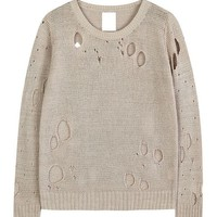 Ripped Holes Pure Color Pullover