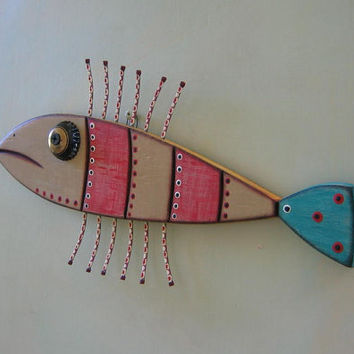 Red Fish, Original Found Object Sculpture, Wood Carving, Wall Art, by Fig Jam Studio