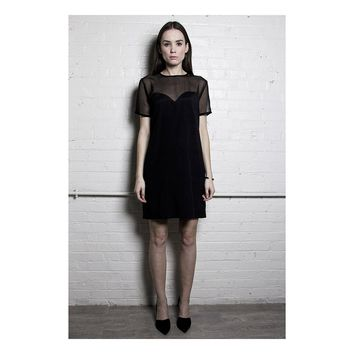 The Black Sheer Panel Dress