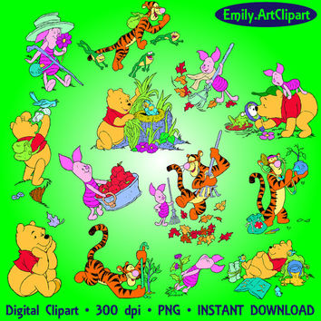 Winnie The Pooh Clipart 28 PNG Tigger Piglet Winnie Clipart Disney Cartoon Clip Art Digital Graphic Image Invitations Printable 300 dpi