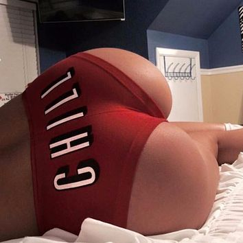 2017 New Explosion Of Red Shorts Underwear Briefs Chill Print Sexy Female All-Match Fashion Panties Women Sexy Panty Plus Size