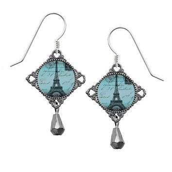 Lemon Tree Eiffel Tower Earrings with Sterling Silver Ear Wires