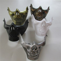 5pcs sell Skull halloween mask Jaw Horror Half Face Shied Terror Mask Plastic Human Skull Skeleton Mask for Halloween Party mask