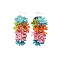 Furry Leather Earrings in Pink, Orange, Teal and Green, Fiber Art Jewelry | Boo and Boo Factory - Handmade Leather Jewelry