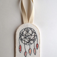 Modern dreamcatcher wall hanging or ornament hand embroidered geometric design with grays rust and peach on organic muslin