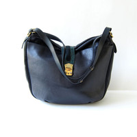 Vintage midnight blue leather purse. Large shoulder bag. Slouchy cross body bag.