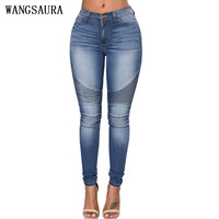2016 Autumn Women Sexy Slim Jeans Jeggings Female Stretch Skinny Pants Pantalon Ripped Denim Trousers