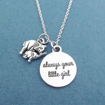 Always your little girl, Elephant, Silver, Necklace, Modern, Dainty, Animal, Jewelry, Gift, Accessory, Jewelry