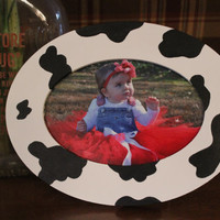 Handpainted Cow Print Picture Frame Holds 4 x 6 Photo- Farm Animal / Barnyard Party