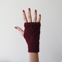 Hand Knit Fingerless Gloves in Burgundy - Arm Warmers - Womens Seamless Knit Gloves - Winter Fashion - Ready to Ship