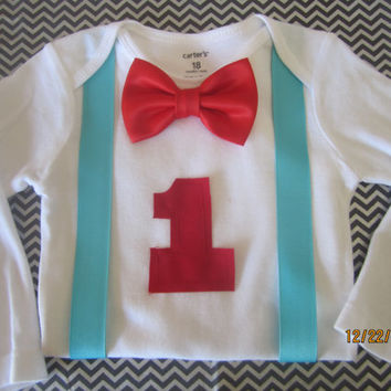 Boy first birthday outfit, Boy blue suspender outfit, Boy first birthday onsie, boy red bow tie Onesuit, suspender outfit for boy
