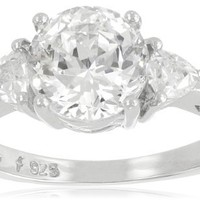 "Platinum-Plated ""100 Facets Collection"" Cubic Zirconia Three-Stone Ring (3 cttw)"