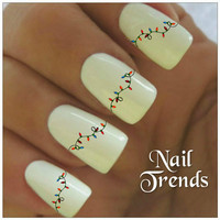 Christmas Lights Nail Decal Vinyl Stickers Nail Art