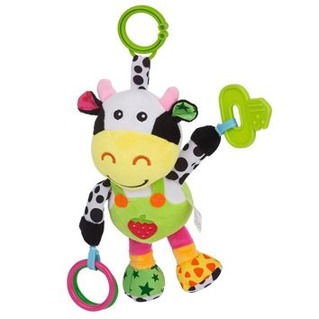 Infant Baby Toys Cute Plush Cow for Pushchair Pram Car Seat