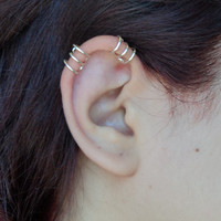 Set of two Helix three rings ear cuff/ wire wraped cartilage fake piercing gold or silver/ clip on