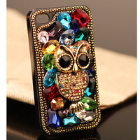 Samsung Galaxy S4 S3 Note II Phone Case Fashion Owl Colorful Crystals