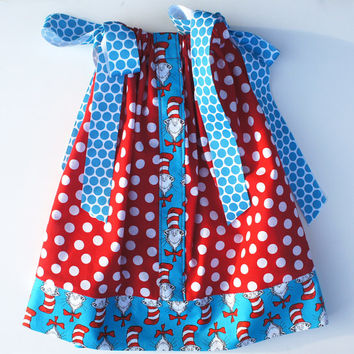 Girls Dress Dr. Seuss Kids Clothes Childrens Clothes Pillowcase Dress Girls Dresses Girl Dr. Seuss Pillowcase Red Polkadot Dress 3t to 6