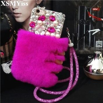 For iPhone 4 5 6 6S 7 8 Plus X grand prime Korea Luxury Diamond bling rabbit fur pearl chain soft phone case cover