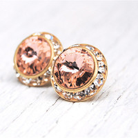 Ballet Pink Stud Earrings Swarovski Crystal Pastel by MASHUGANA