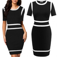 Women Short Sleeve Slim Fit Business Party Bodycon Mini Dress