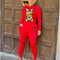 Moschino Fashion New Sweater Sequins Bear Rabbit Stitching Long Sleeve Top And Pants Two Piece Suit Red