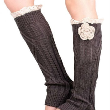 Retro Dark Gray Lace Floral Decorated Knitted Leg Warmers