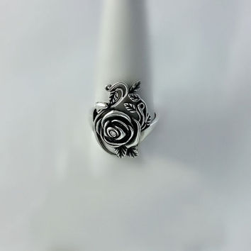 Vintage Sterling Silver Cast Ring - Silver Rose Ring - Size 10 1/2 Ring - Large Statement Ring - Floral Jewelry