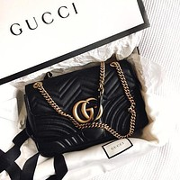 Gucci Hot Sale Women Shopping Bag Leather Metal Chain GG Buckle Crossbody Satchel Shoulder Bag Black