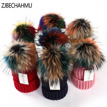 ZJBECHAHMU Hats Winter Real Fox Fur Pompoms 15cm Hat Warm Skullies Beanies Hat Caps Women Girl Fashion Colorful Raccoon New