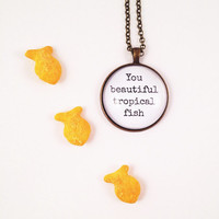 Beautiful Tropical Fish, Quote Necklace, Quote Pendant, Funny Jewelry, Best Friend Gift, Girlfriend Present