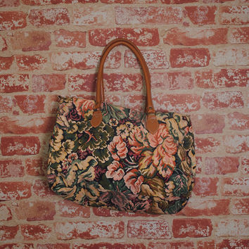 Vintage 1990s Small Floral Cotton Canvas Print  Tote bag overnight bag suitcase purse Vegan